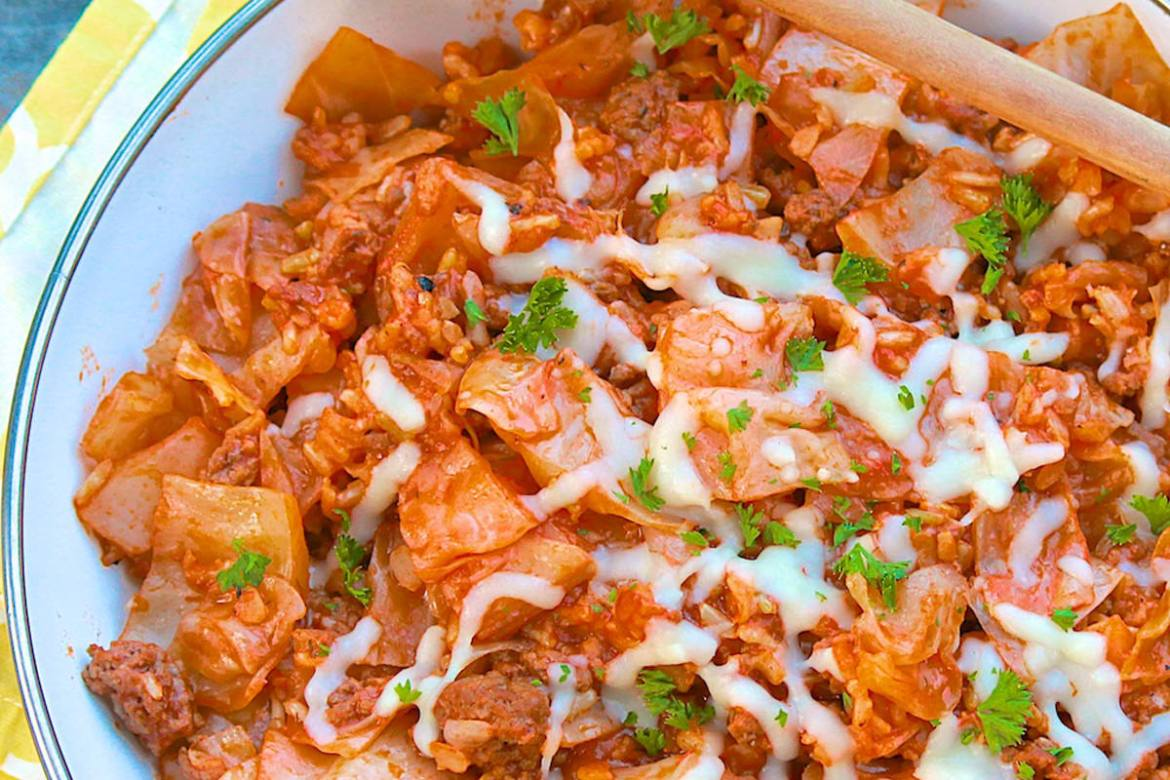All the flavor of traditional cabbage rolls in one easy pot - or skillet! (Gluten-free, dairy-free if optional cheese topping is omitted and Paleo if pinch of sugar is omitted.)