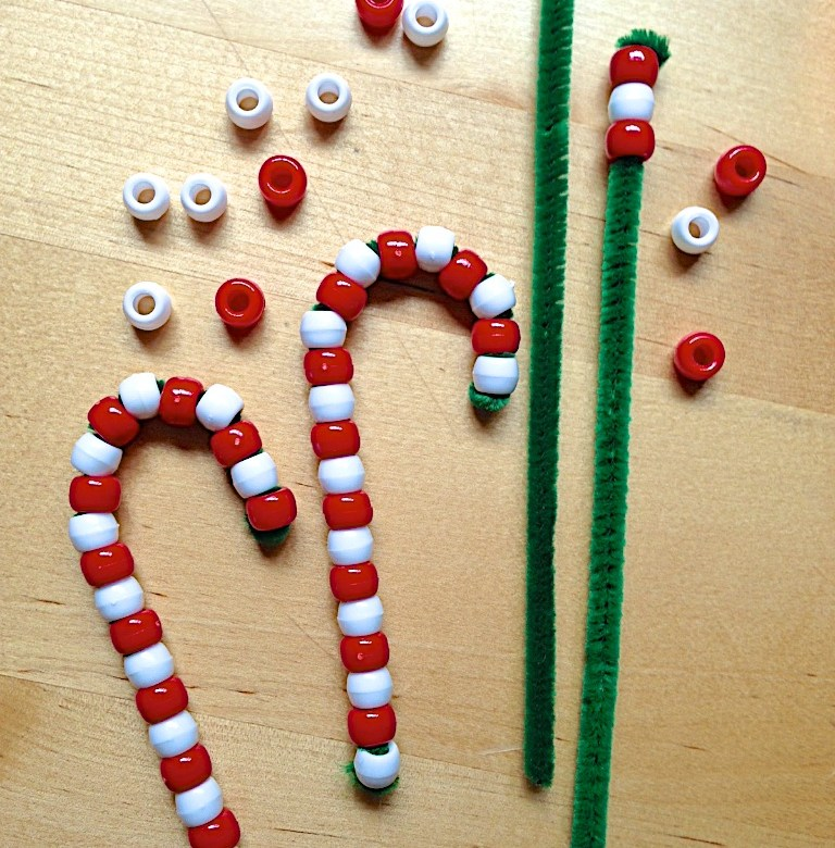easy christmas crafts for kids - beaded candy canes