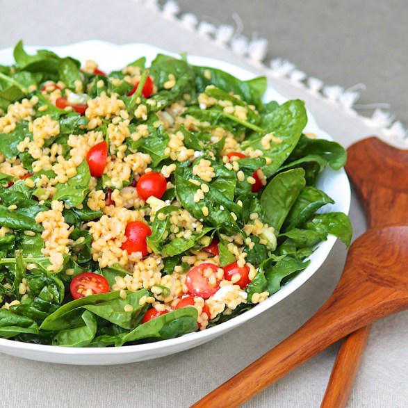 Warm Yellow Lentil Salad with Mustard Soy Vinaigrette