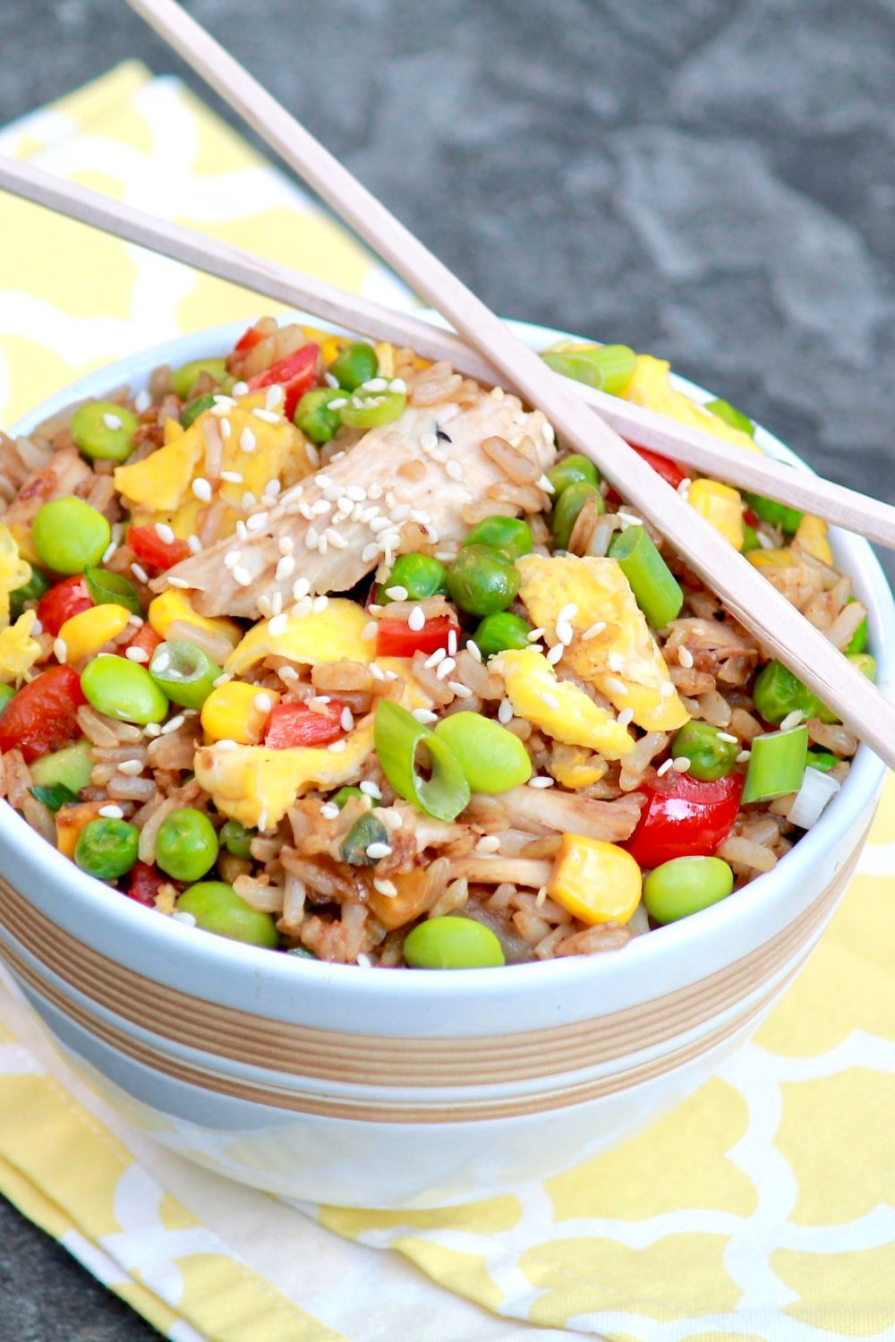 The flavor of homemade fried rice will rival your favorite takeout version and be healthier, too. Make use of leftover rice and chicken for the easiest of meals.
