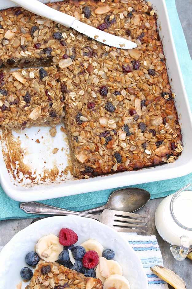 Muesli Baked Oatmeal can be made with store-bought muesli or my Toasted Maple Muesli for a healthy, grab & go breakfast all week long.