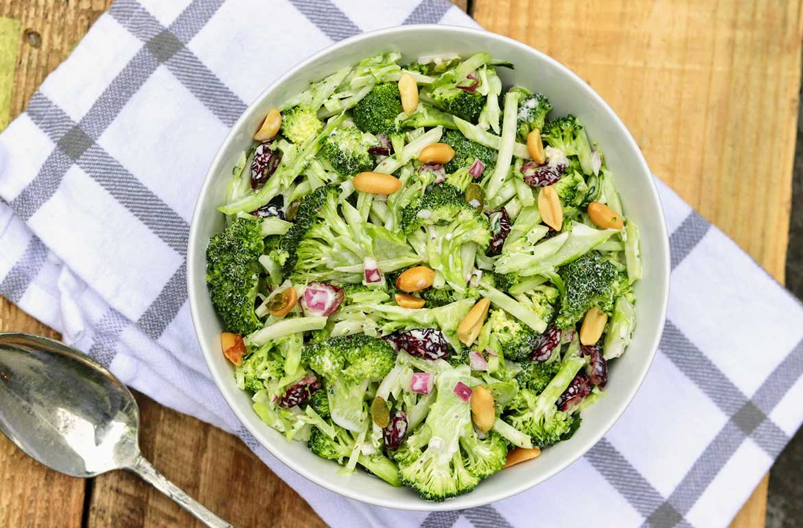 My Favorite Broccoli Salad -- Perfect for a potluck, casual entertaining, or a satisfying lunch, this tried-and-true rendition of the classic broccoli salad can be assembled in advance in minimal time and varied according to preference.