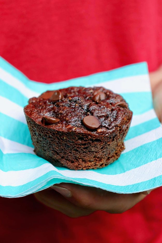Flourless Chocolate Zucchini Muffins are healthy enough to eat for breakfast yet decadent enough for dessert.  Plus they're naturally gluten- and grain-free, use minimal sweetener, and freeze well!