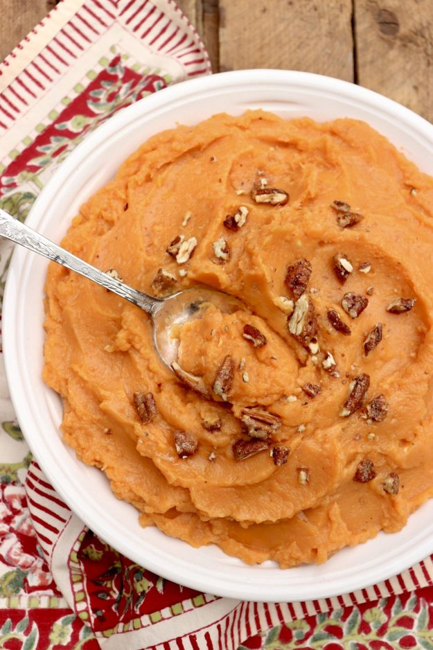 Maple Mashed Sweet Potatoes are vegan, gluten-free, dairy-free (you get the point!) and taste amazing. Leftovers are great reheated and can be used for satisfying breakfast bowls.