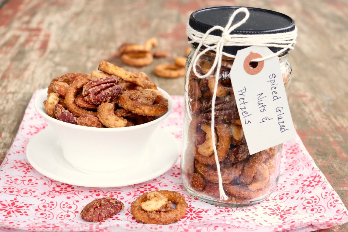 Spiced Glazed Nuts & Pretzel Mix ― Sweet and spicy mingle with salty and crunchy in this crowd-pleasing cocktail snack that doubles as a convenient hostess or holiday gift.
