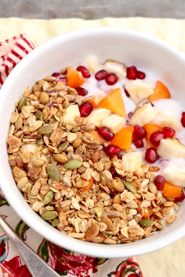Winter Breakfast Bowl - This easy, no-cook breakfast turns the typical yogurt bowl upside down, using the yogurt as a binder and encouraging heavier use of fruits you may not ordinarily consider.