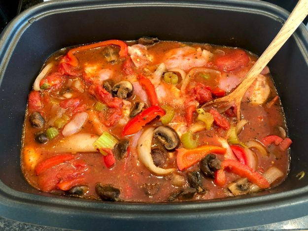 Instant Pot Chicken Cacciatore (with slow cooker option)-Tender, flavorful chicken and lots of healthy veggies are the hallmark of this easy meal. Leftover sauce can be enjoyed like your favorite marinara.