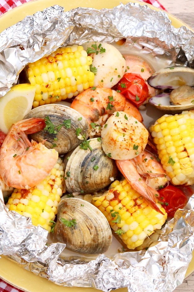 Mix & Match Grilled Seafood Packets (aka Ocean Packets)-Healthy, single-serve packets that are loaded with flavor and just plain fun to eat. Quick to prep and easy customize based on allergies or personal preference. (And cleanup is a breeze!)