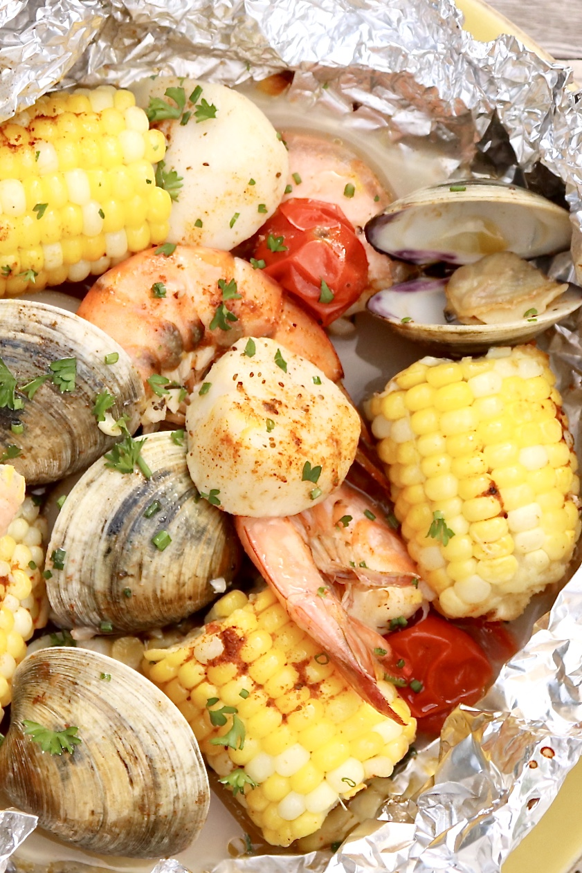 Mix & Match Grilled Seafood Packets (aka Ocean Packets)-Healthy, single-serve packets that are loaded with flavor and just plain fun to eat. Quick to prep and easy customize based on allergies or personal preference. (Andcleanup is a breeze!)