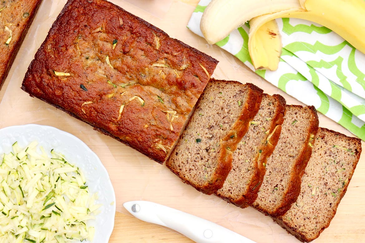 Grain-free, naturally sweetened Zucchini Banana (or Applesauce) Bread-this healthy edition of the ultimate summer quick bread is easy to customize and completely delicious