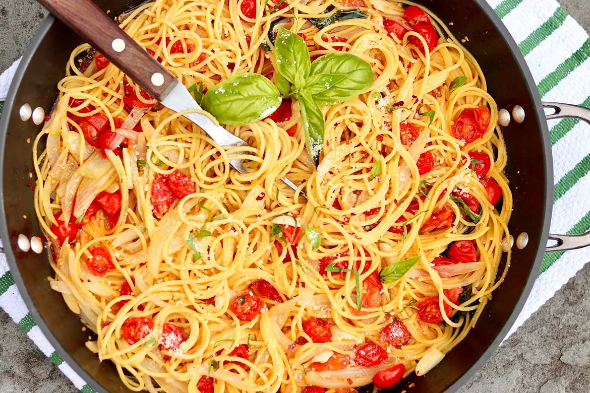 A GLUTEN-FREE SOLUTION AND OTHER RIFFS ON MARTHA STEWART'S POPULAR ONE-PAN PASTA - This all-in-one meal is a versatile weeknight godsend and cooks in just 9 minutes once the water boils!