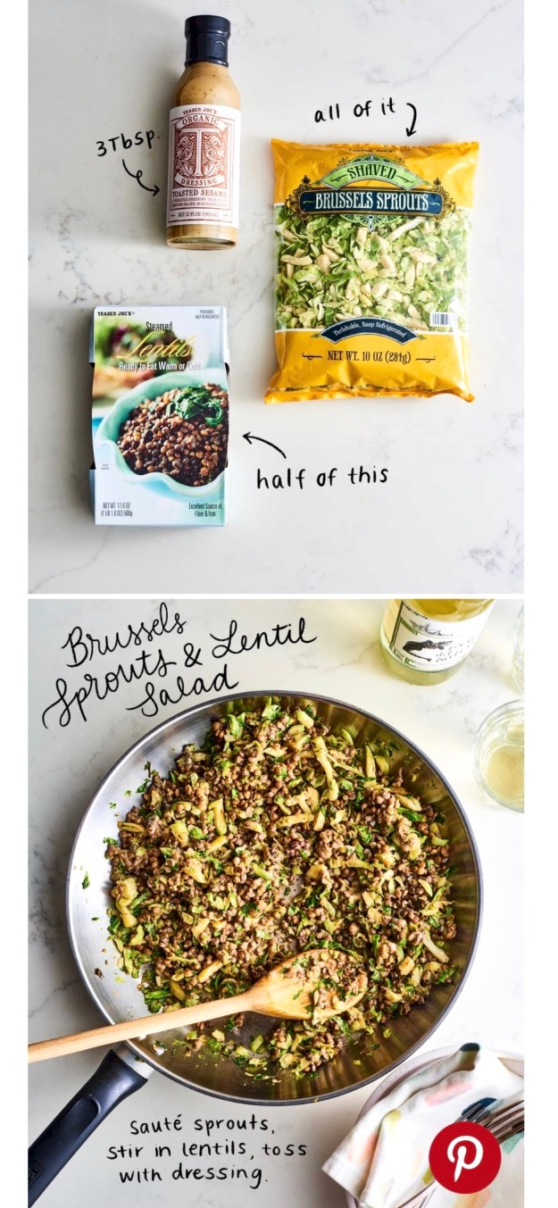 3-Ingredient Teriyaki Brussels Sprouts & Lentil Stir Fry - Inspired by a Trader Joe's shortcut recipe but with ingredients anyone can find, this protein-rich, plant-based meal is a dream on a busy night. Enjoy it as is or use the recipe as a framework and customize to taste.