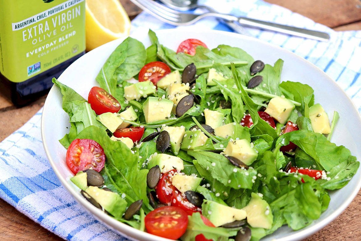 The simplest of vinaigrettes provides exceptional flavor in this crunchy, creamy, peppery, nutrient-dense salad than can be customized to taste.