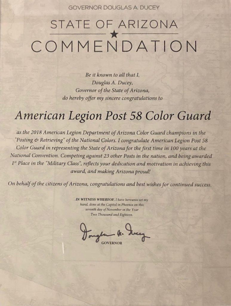American Legion Post 58 Color Guard Commendation
