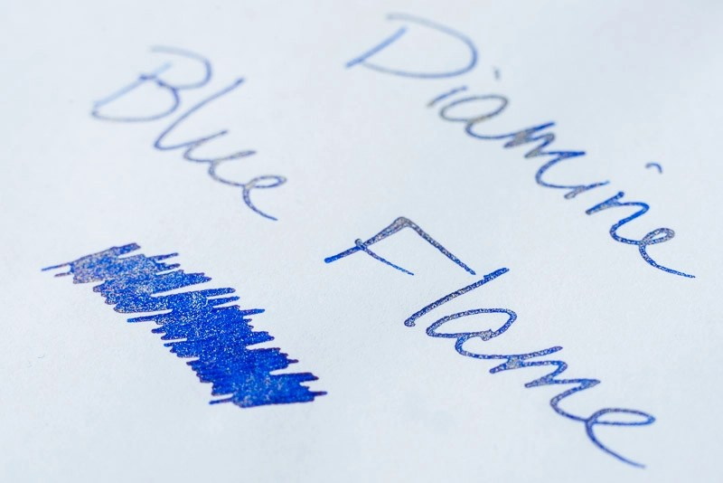 Difference between shimmer sheen fountain pen ink diamine blue flame shimmer ink
