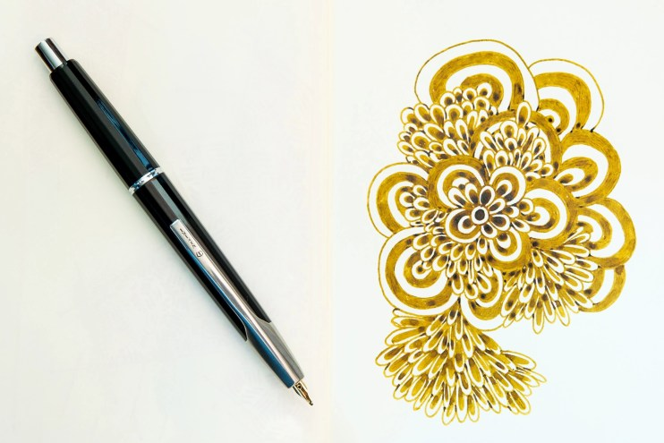 using fountain pens to doodle kwz old gold