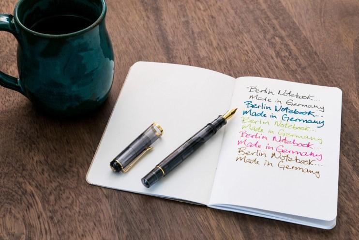 berlin notebook fountain pen friendly paper pelikan pen with coffee