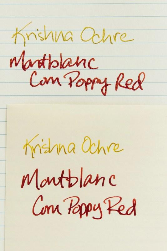paper changes how an ink looks krishna ochre