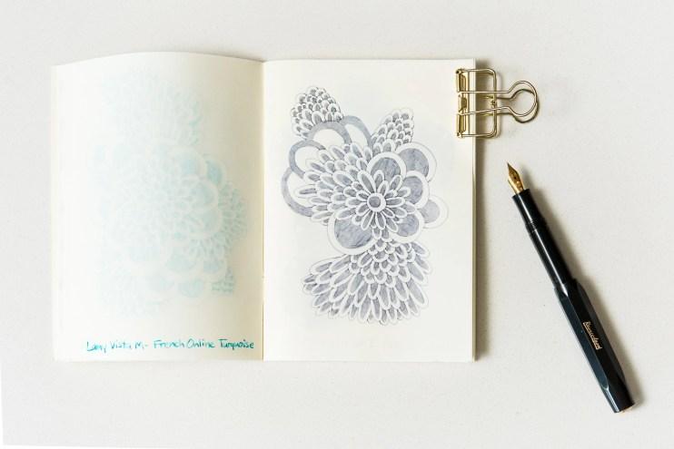 Grey Fountain Pen Ink Comparison doodle