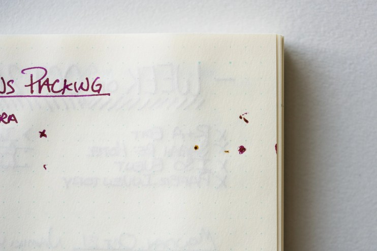 wet fountain pen ink in bullet journal