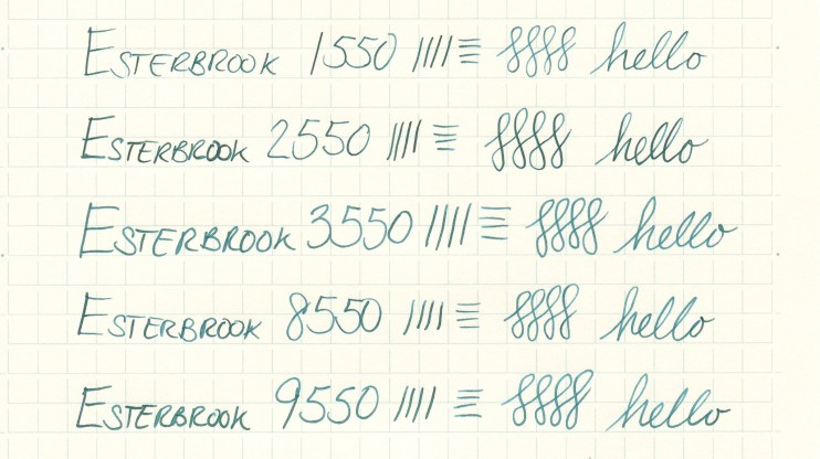 Esterbrook nib writing sample 9550