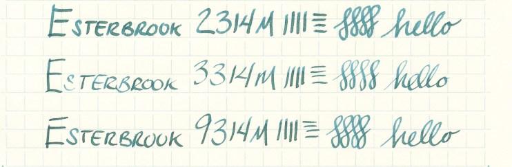 Esterbrook nib writing sample 9314M