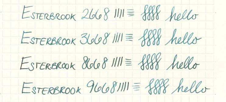 Esterbrook nib writing sample 3668