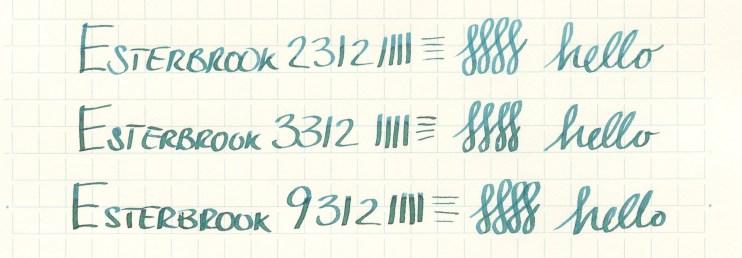 Esterbrook nib writing sample 9312