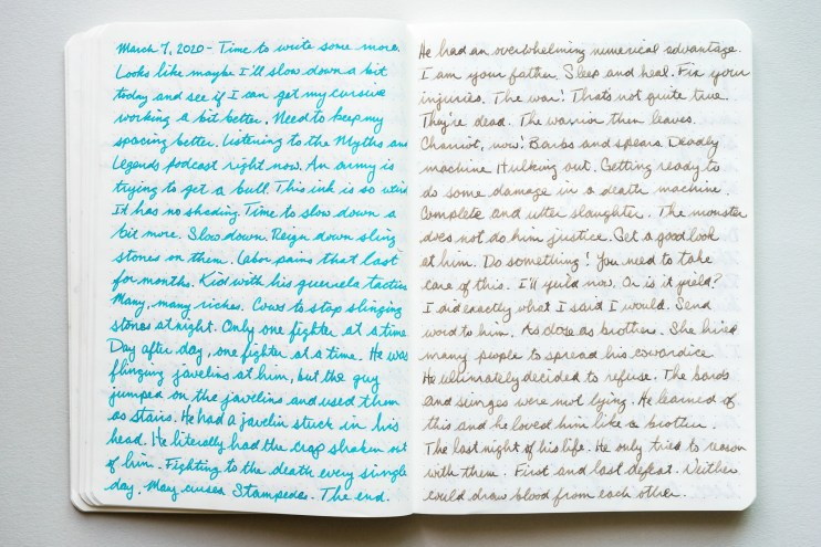 best line spacing for writing cursive