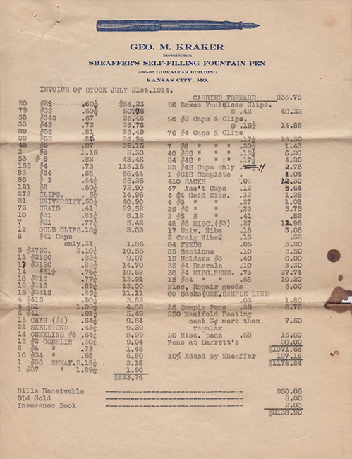 George Kraker's Inventory of office page 1