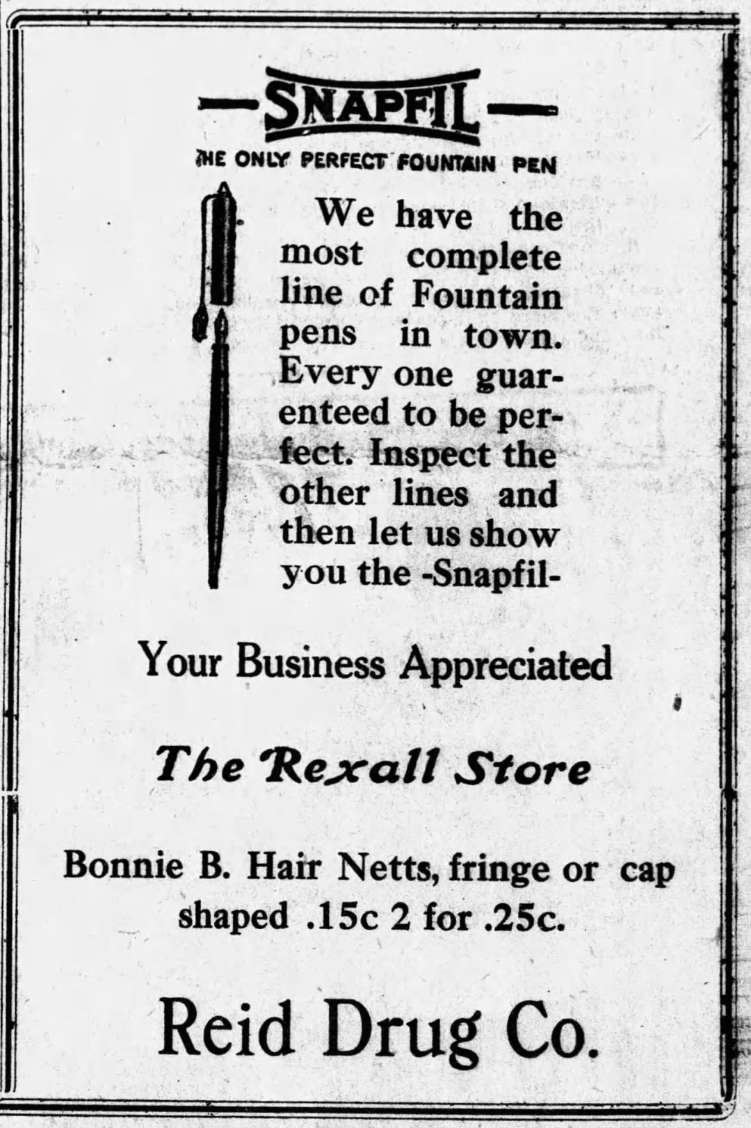 Snapfil Ad - September 9, 1920 - from the Atmore Record in Atmore, Alabama