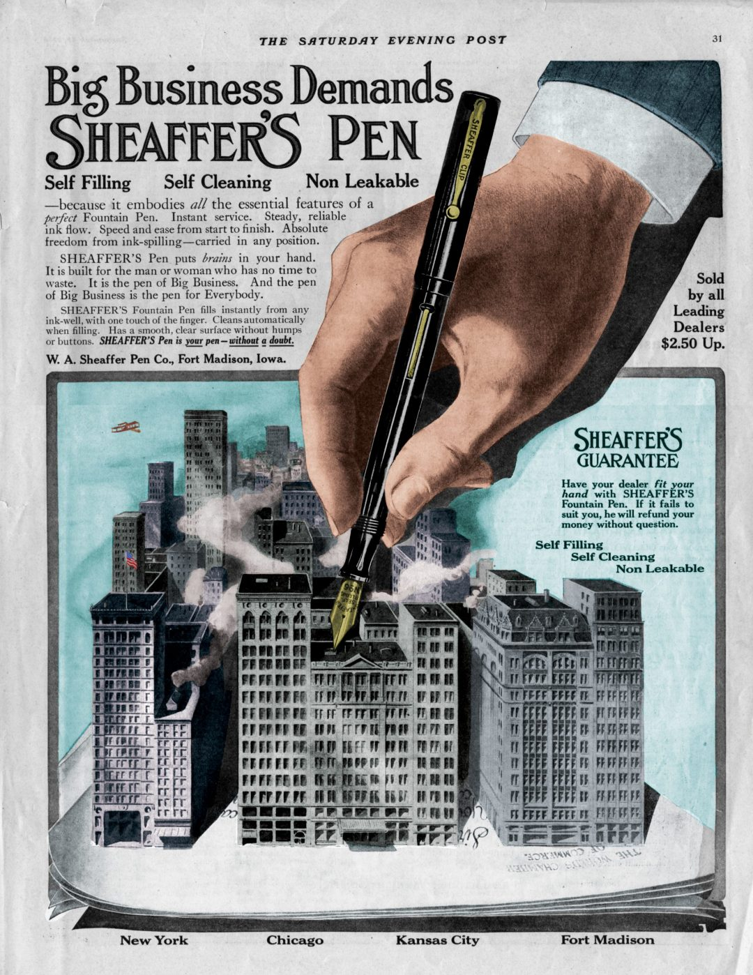 The Saturday Evening Post - Sheaffer Ad September 12, 1914 -- colorized by Nathaniel Harter