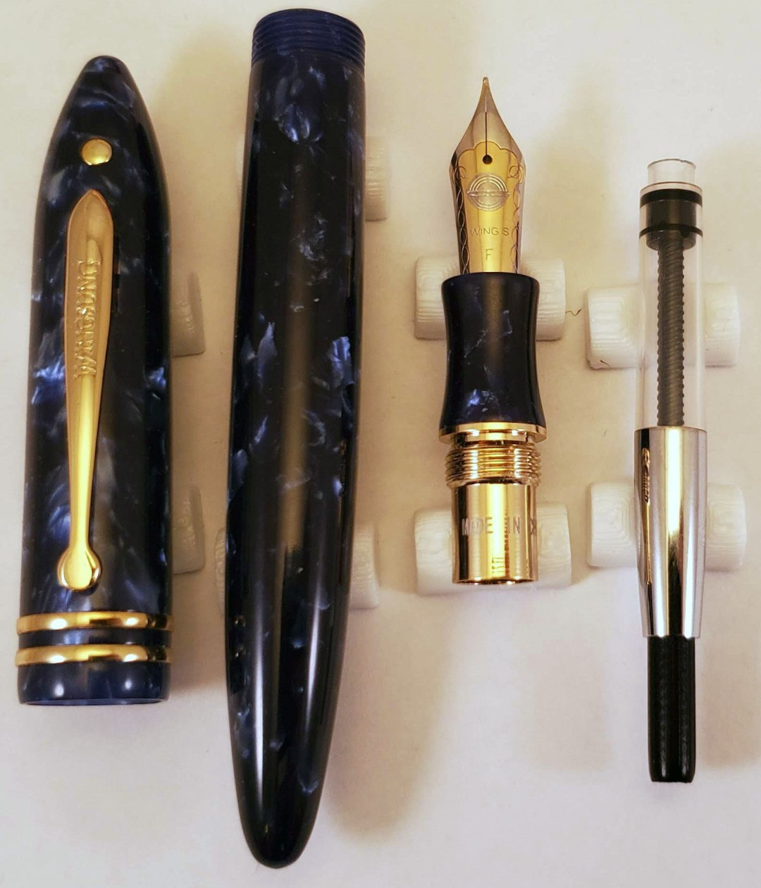 Wing Sung 626 Exploded View showing cap, barrel, section, and converter