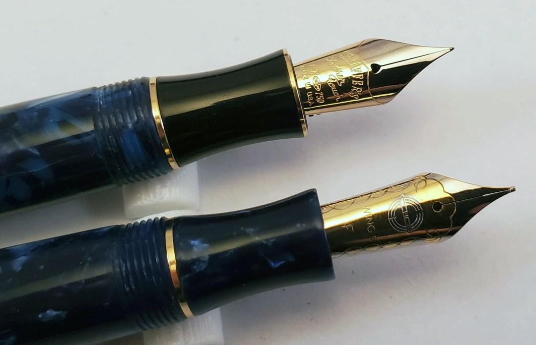 Balance II (top) and Wing Sung 626 (bottom) Nibs close up