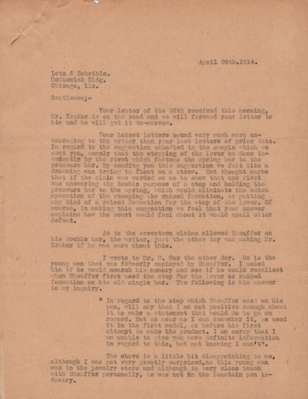 Letter by Harvey Craig 1914-04-29