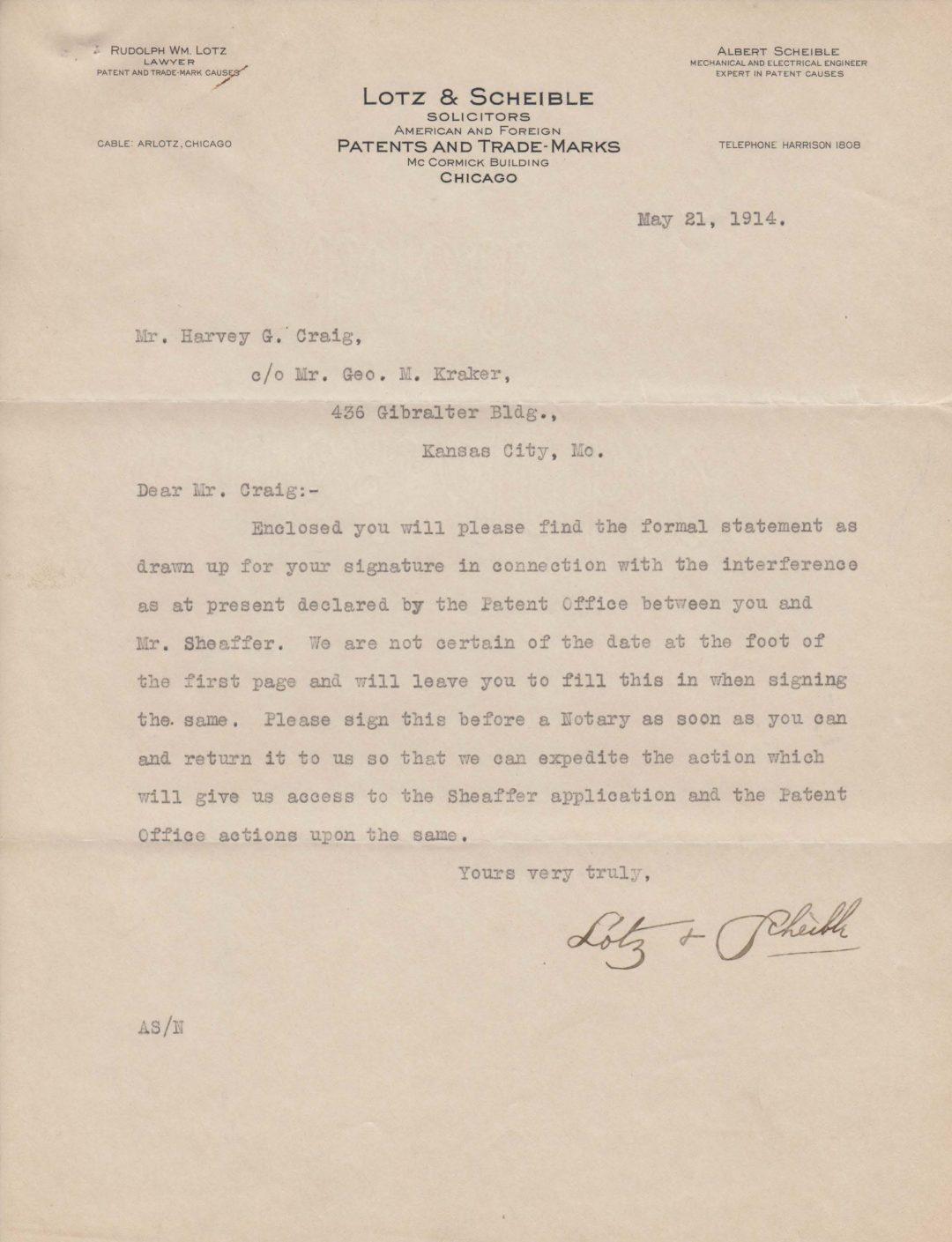 Letter to Harvey Craig 1914-05-21