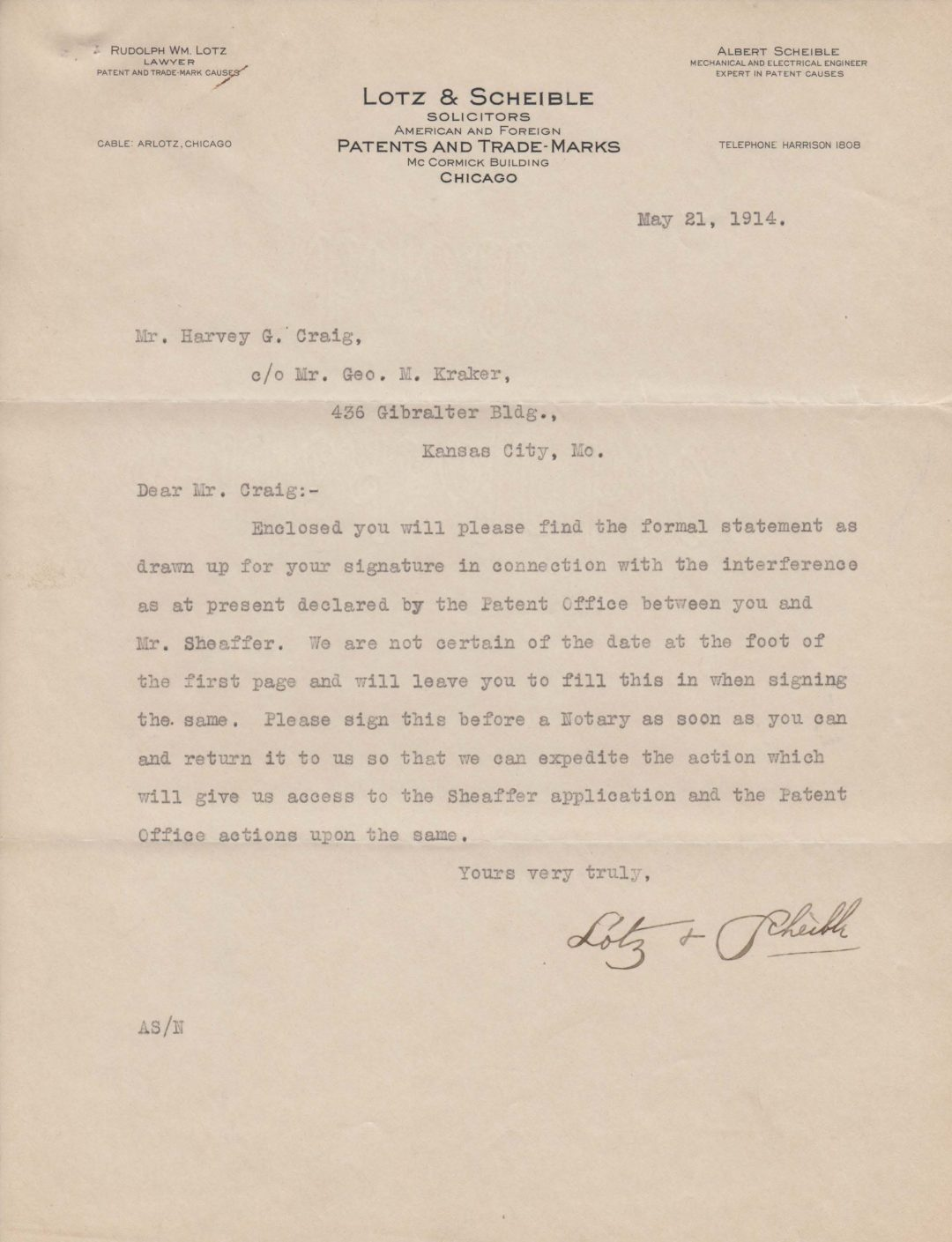 Letter to Harvey Craig 1914-05-21
