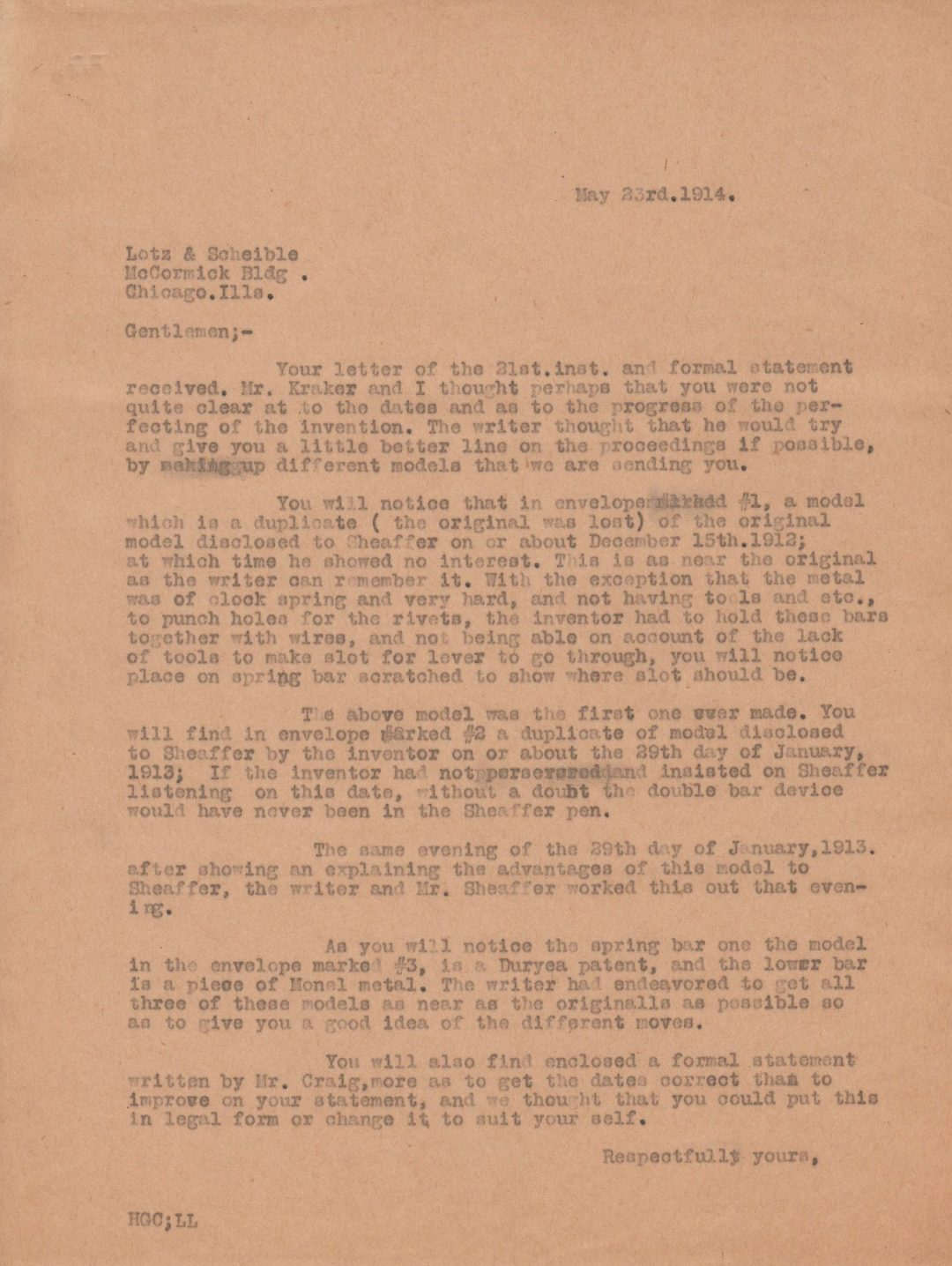 Letter by Harvey Craig 1914-05-23