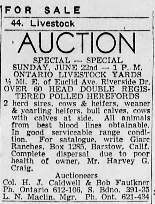 Auction Ad -- showing the auction selling Harvey Craigs farm