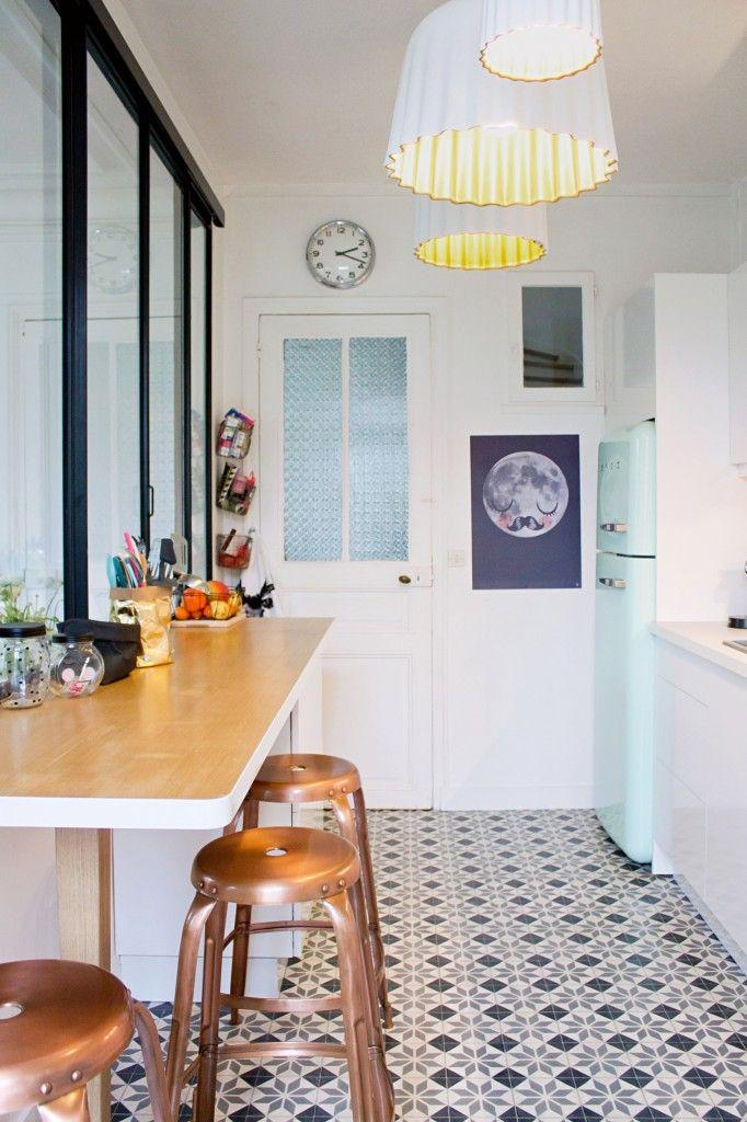 black and white tile floor kitchen