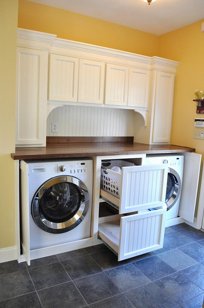 Laundry Room Ideas for Baskets, Cabinets and Racks ... on Laundry Cabinets Ideas  id=39796