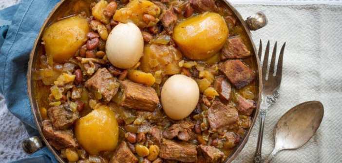 Чолнт с мясом и фасолью (фото, ингредиенты, рецепт)