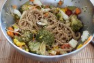 Soba noodles with veggies, egg and sesame