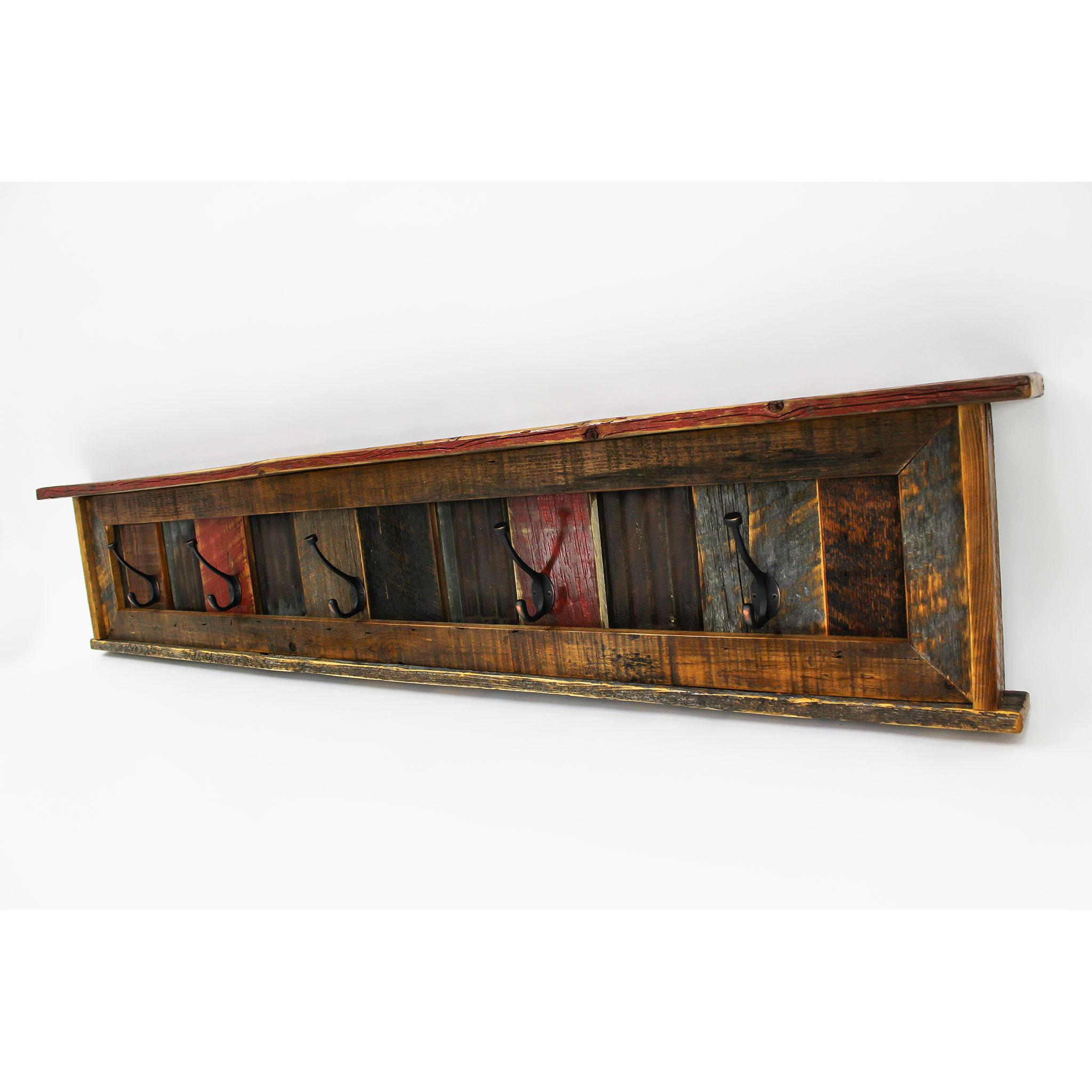 reclaimed barnwood wall mounted coat rack with shelf arizona