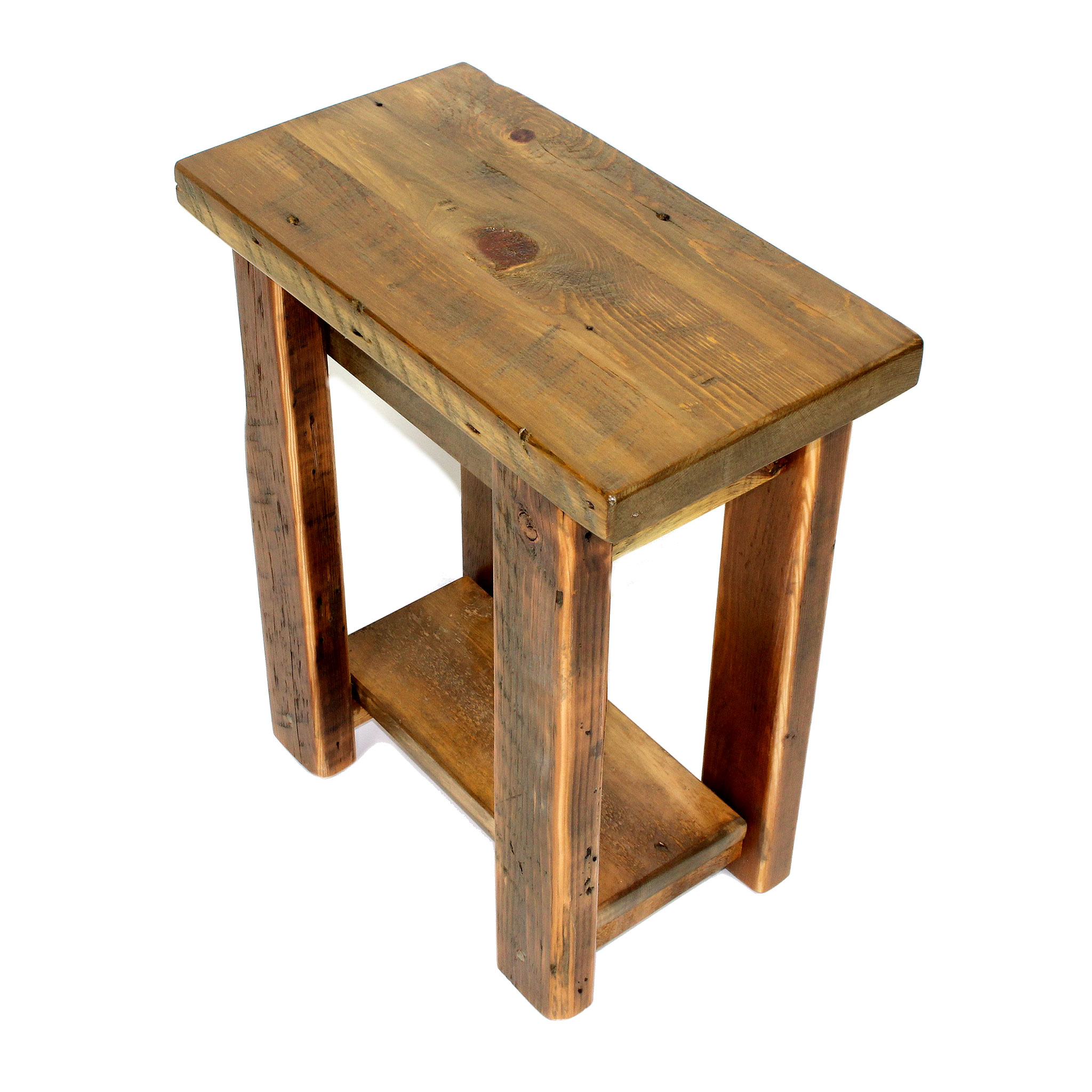 small reclaimed wood end table