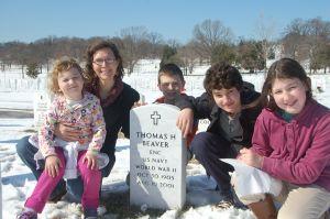 Carolyn & Kids at her Grandpa's Grave-site in Arlington