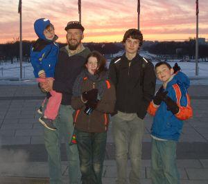 Farmer Ian and Kiddos at Washington Monument