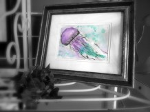 Purple and teal jellyfish watercolor painting