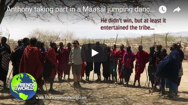Anthony taking part in a Maasai jumping dance (Adumu)