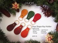 Pear Shaped Leather Key Holder (gold ring), MYR 35 each